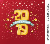 2019 happy new year poster or...   Shutterstock .eps vector #1253504182