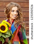 Fashion Woman With Sunflower A...