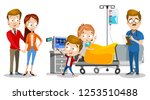 family visiting little child at ... | Shutterstock .eps vector #1253510488