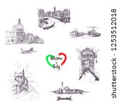 welcome to italy symbols set... | Shutterstock .eps vector #1253512018