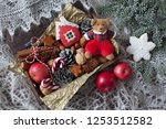 christmas card  a box of apples ... | Shutterstock . vector #1253512582