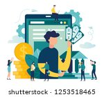 vector flat illustration  bank... | Shutterstock .eps vector #1253518465