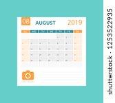 calendar august 2019 year in... | Shutterstock .eps vector #1253522935