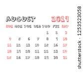 calendar august 2019 year in... | Shutterstock .eps vector #1253523058