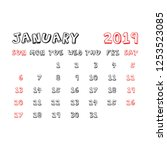 calendar january 2019 year in... | Shutterstock .eps vector #1253523085