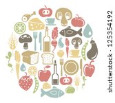 round card with food icons | Shutterstock .eps vector #125354192