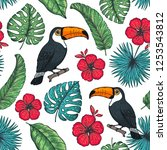 tropical seamless pattern.... | Shutterstock .eps vector #1253543812