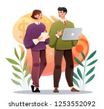 business colleagues discussing... | Shutterstock .eps vector #1253552092
