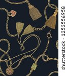 print with gold chains and... | Shutterstock .eps vector #1253556958