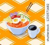 isometric white round poke bowl ... | Shutterstock .eps vector #1253571682