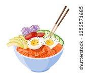 isometric white round poke bowl ... | Shutterstock .eps vector #1253571685