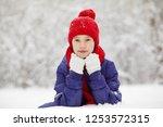 portrait of a cute teen girl... | Shutterstock . vector #1253572315