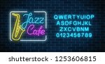neon jazz cafe and saxophone... | Shutterstock .eps vector #1253606815