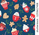 seamless pattern with holiday... | Shutterstock .eps vector #1253617408