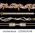 border with belts  chain and... | Shutterstock .eps vector #1253619148