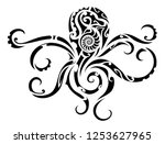 octopus in tribal maori style... | Shutterstock .eps vector #1253627965