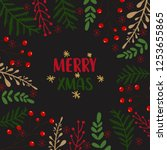 merry christmas background with ... | Shutterstock .eps vector #1253655865