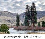 Yakima River in Washington State winding through the rugged, winter mountain landscape