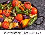 rustic oven baked vegetables in ...   Shutterstock . vector #1253681875