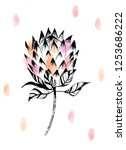 pink protea flower watercolor... | Shutterstock .eps vector #1253686222