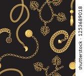 gold chain belt pattern fashion ... | Shutterstock .eps vector #1253689018