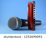 a dynamic handheld vocal... | Shutterstock . vector #1253690092