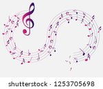 colorful abstract music notes... | Shutterstock .eps vector #1253705698