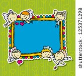 cute doodle card frame with... | Shutterstock .eps vector #125371298