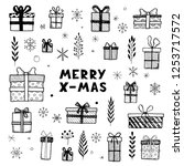 hand drawn set of christmas... | Shutterstock .eps vector #1253717572