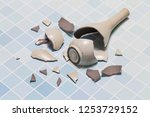 the vase broke on the floor | Shutterstock . vector #1253729152