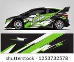 car decal sticker wrap design... | Shutterstock .eps vector #1253732578