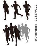 running silhouettes vector | Shutterstock .eps vector #125379122