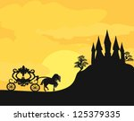 carriage at sunset. silhouette... | Shutterstock .eps vector #125379335