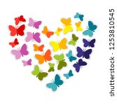 Stock vector heart from bright colorful paper butterfly the butterflies cut out of paper are folded in the 1253810545