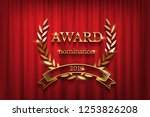 golden award sign with laurel... | Shutterstock .eps vector #1253826208