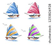 illustrations of sailboats set. ... | Shutterstock . vector #1253826928