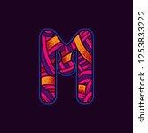 letter m in the original neon... | Shutterstock .eps vector #1253833222