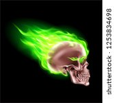 copper skull on green fire with ... | Shutterstock .eps vector #1253834698