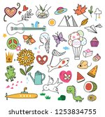 set of cute doodles background | Shutterstock . vector #1253834755