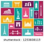 world landmark icon set. flat...   Shutterstock .eps vector #1253838115