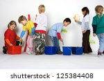 little painters in front white... | Shutterstock . vector #125384408