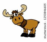 Cartoon Happy Moose With Big...