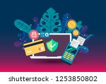web payment icon in flat style. ... | Shutterstock .eps vector #1253850802