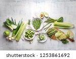 green vegetables for healthy...   Shutterstock . vector #1253861692