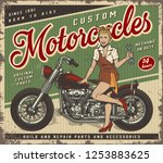 vintage colorful motorcycle... | Shutterstock .eps vector #1253883625