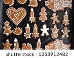 christmas homemade gingerbread... | Shutterstock . vector #1253912482