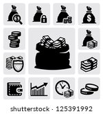Vector Black Money Icons Set O...