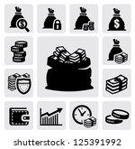 vector black money icons set on ... | Shutterstock .eps vector #125391992