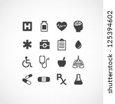 set of 16 various medical icons.... | Shutterstock .eps vector #125394602
