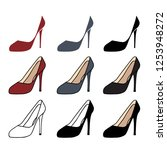 set of high heel shoes for... | Shutterstock .eps vector #1253948272